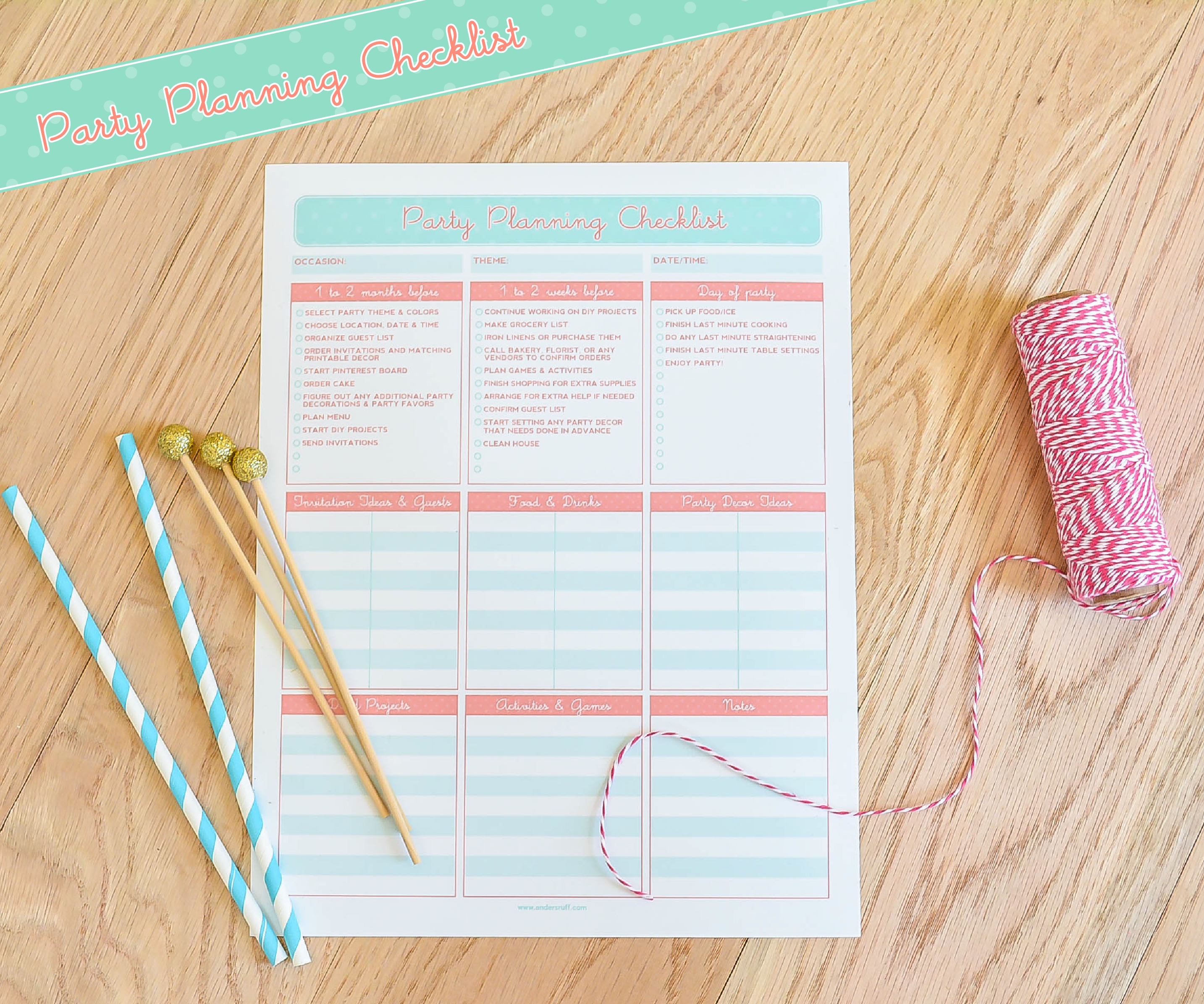 Ruff Draft FREE PRINTABLE Party Planning Checklist Anders Ruff – Printable Checklist