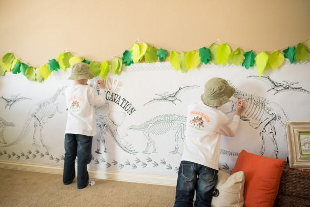 dinosaur coloring wall
