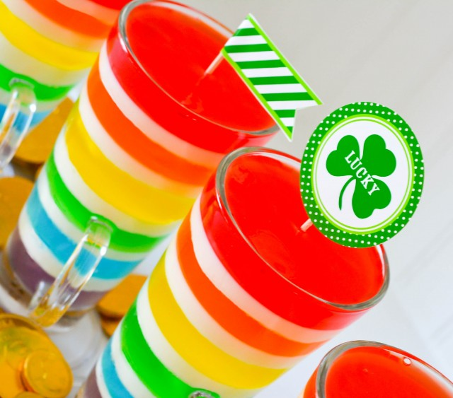 Rainbow jell-o for St. Patrick's day