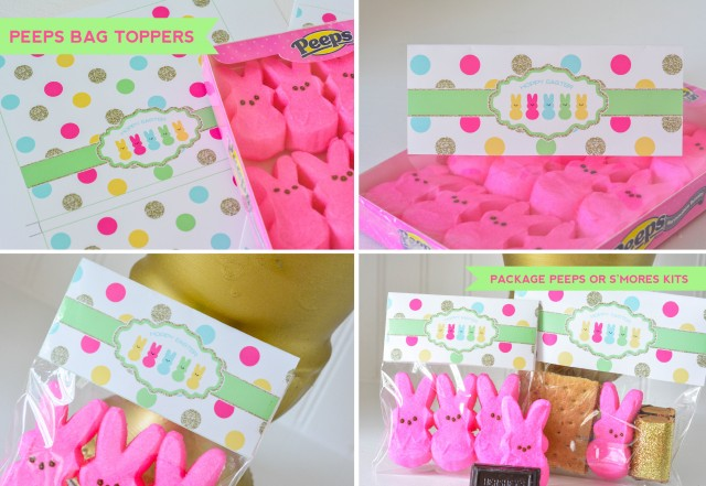 Easter Peeps Bag Toppers for peeps or s'mores kits
