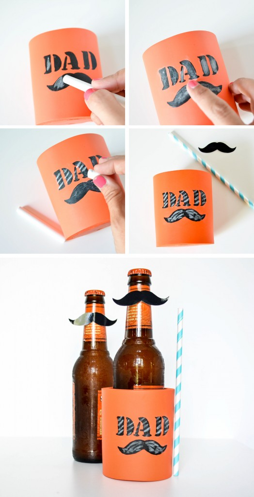 DIY chalkboard painted coozie for dads