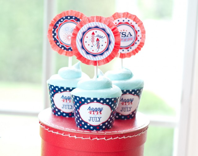 4th of july printable cupcake toppers