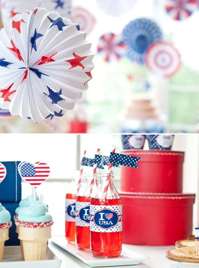 red white and blue party decorations