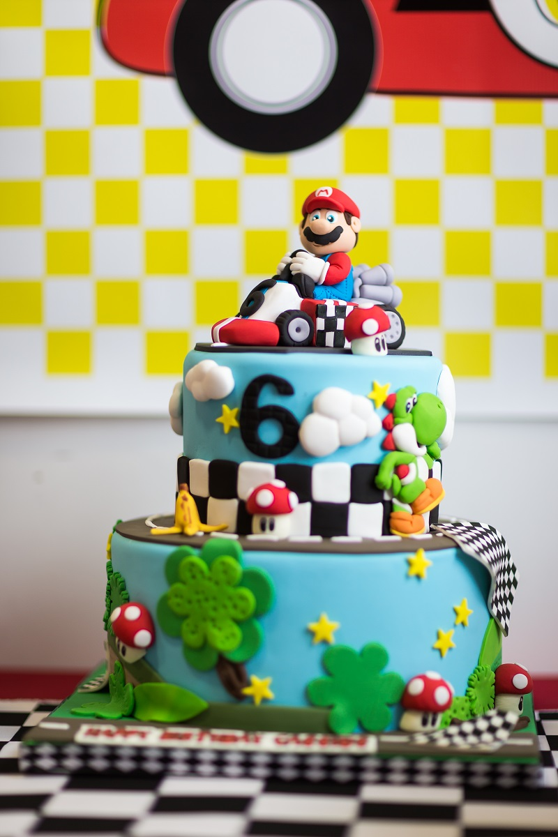 A bright and colorful mario kart birthday party anders for B day decoration photos