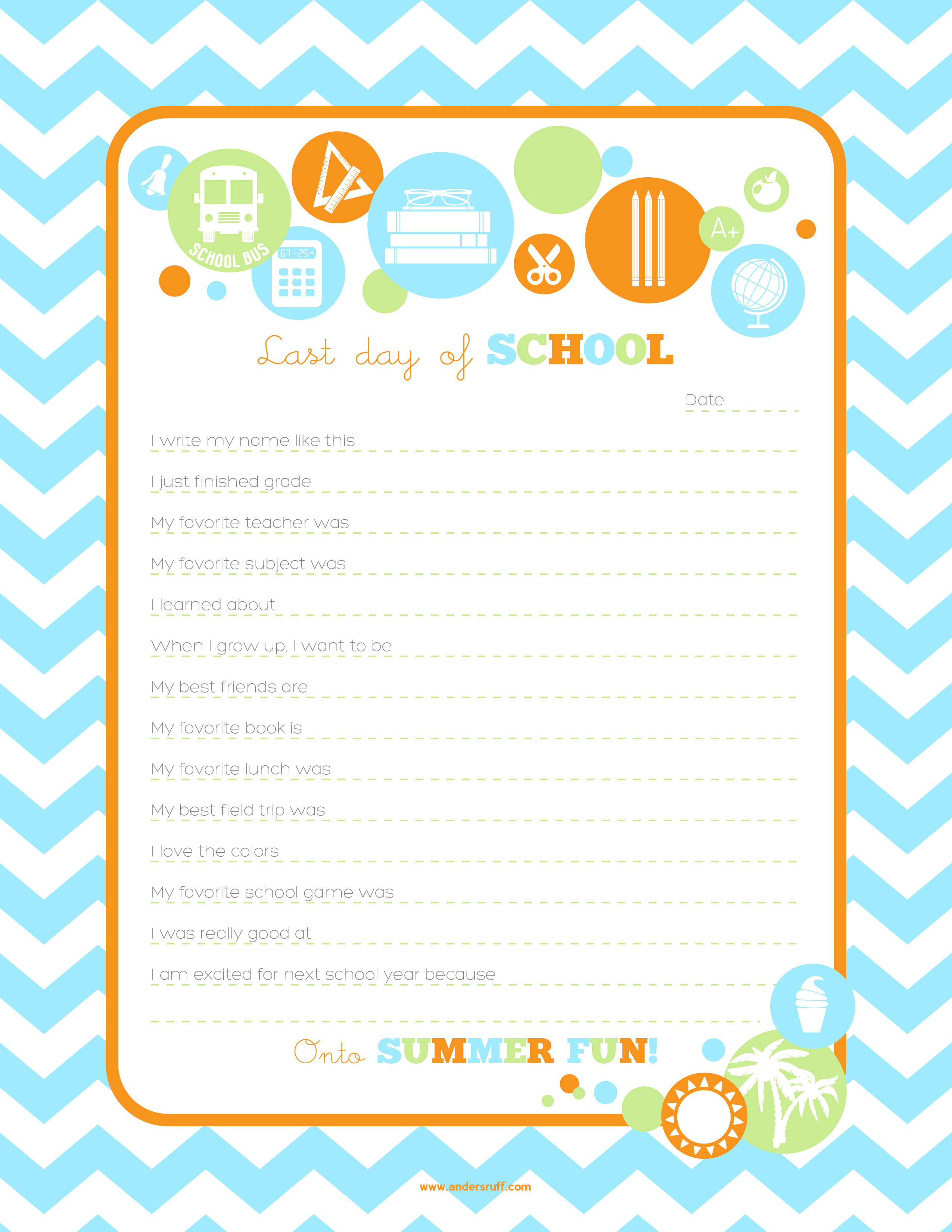 End Of School Worksheets : Ruff draft free printable end of school year interview