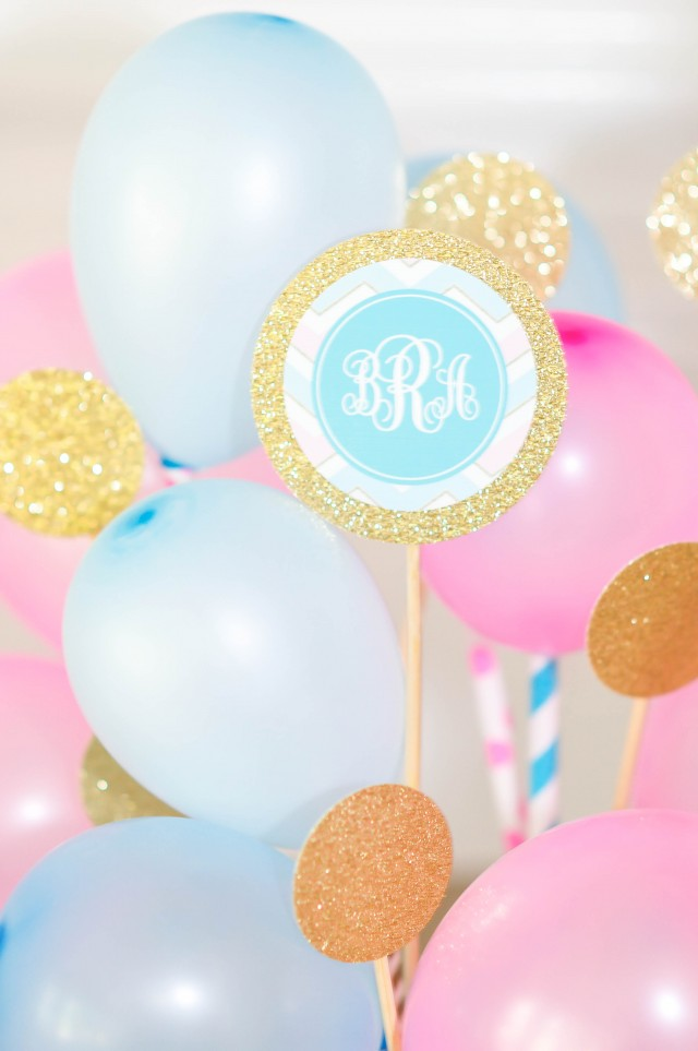 Monograms, balloons, gold glitter birthday party