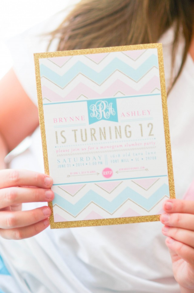 Monogram Gold Chevron Birthday Party Invitation