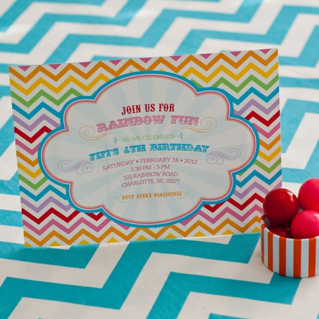 a rainbow st birthday party  anders ruff custom designs, llc, Birthday invitations