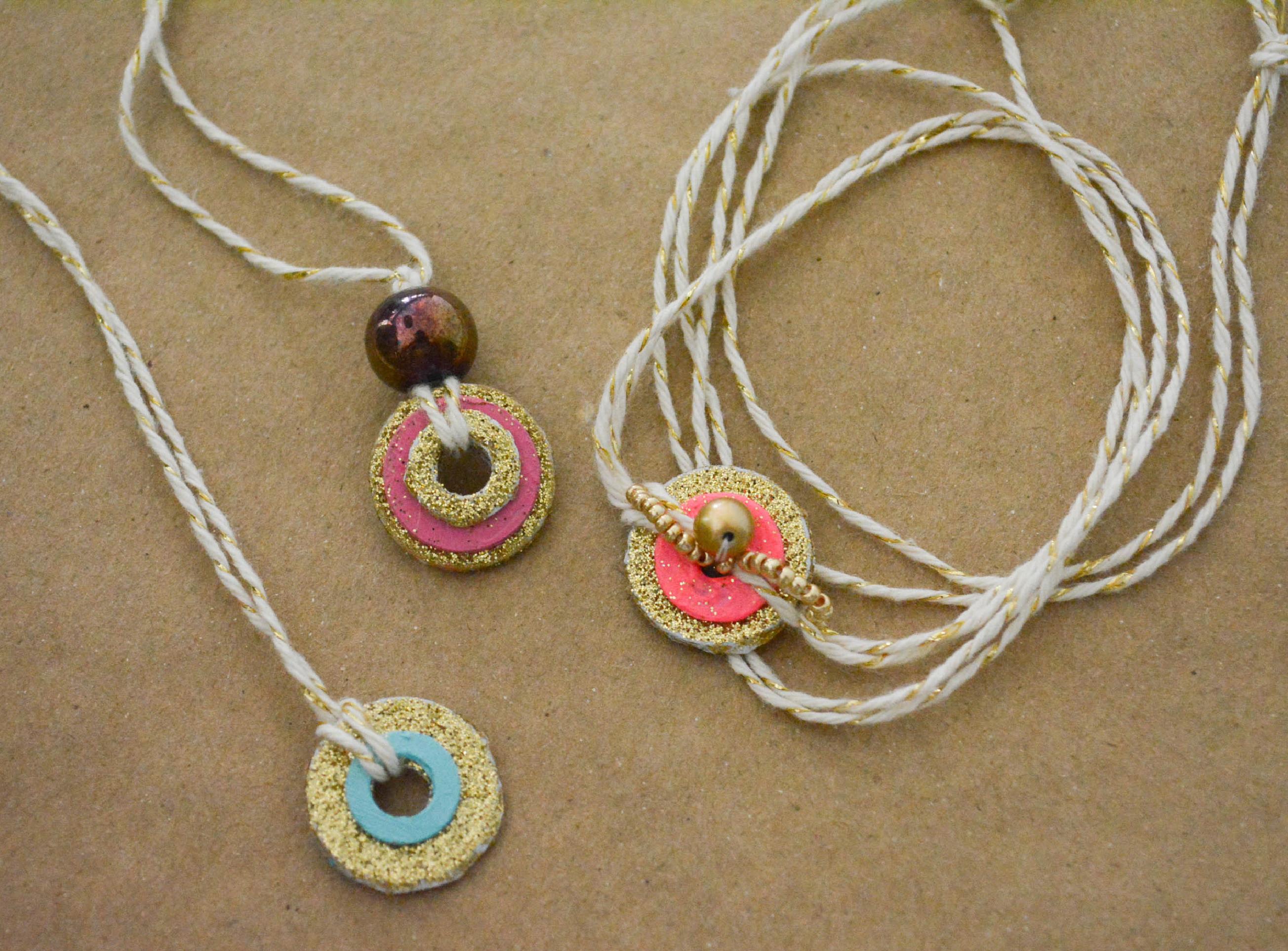 ruff draft summer kid craft painted washer jewelry