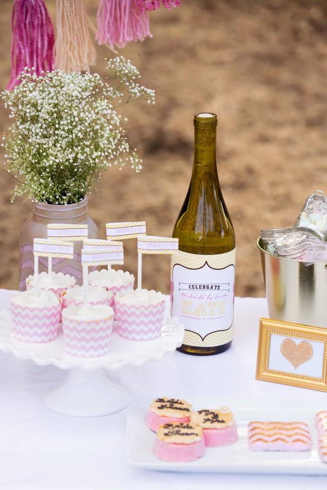 bridal shower cupcakes and personalized wine bottles