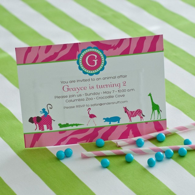 pink jungle party invitation