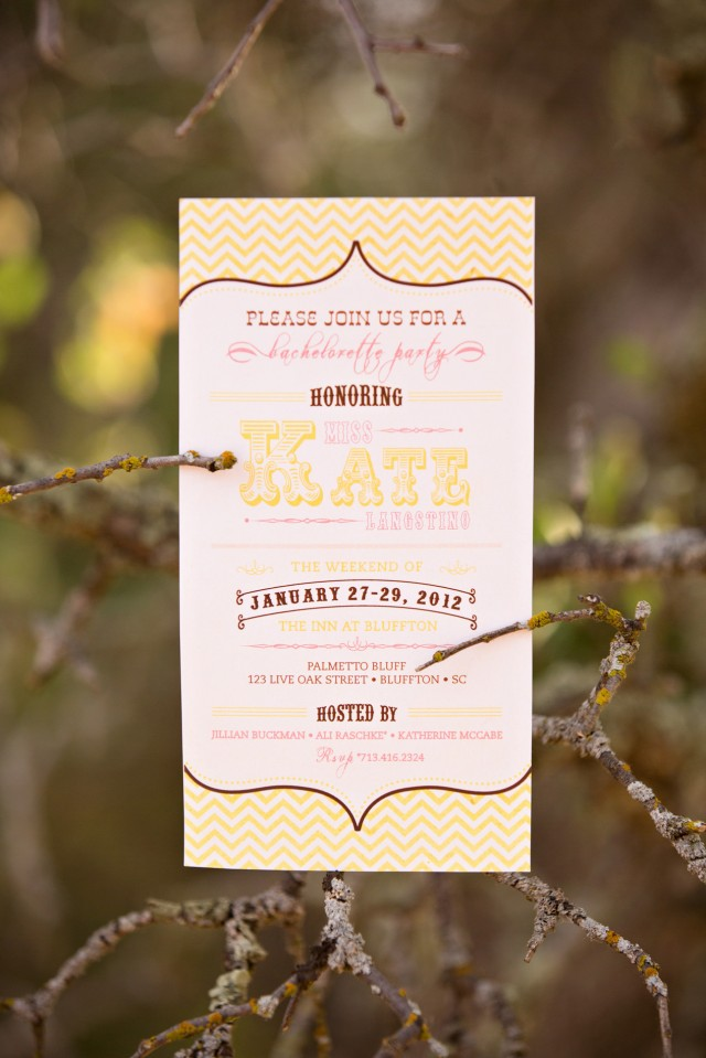 gold chevron bridal shower invitation