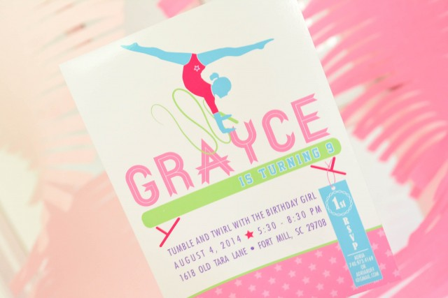 Gymnastics printable birthday invitation by anders ruff