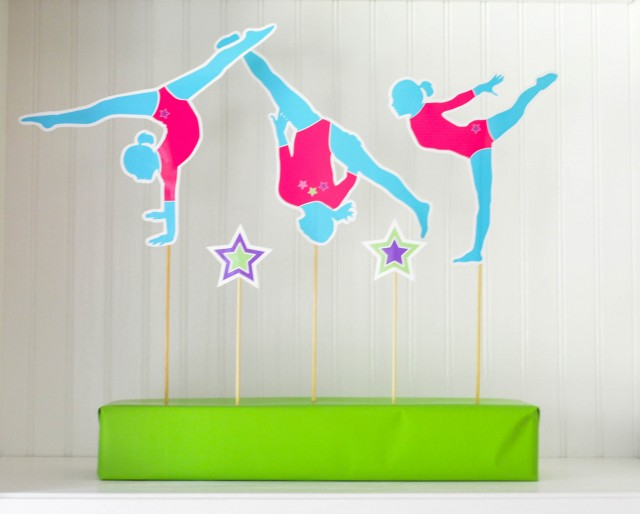 Gymnast silhouette birthday decor printables