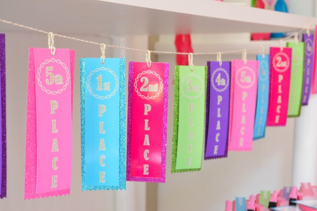 Gymnastics printable ribbon medal birthday banner