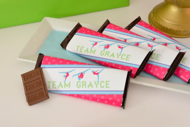 Chocolate bars for gymnastics party