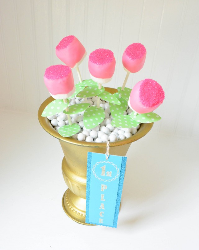 Chocolate covered marshmallow flower bouquet for gymnasts