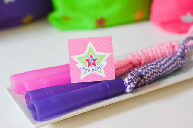Gymnastics birthday favor jump ropes