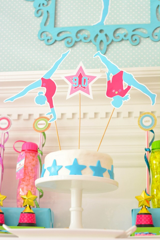 Gymnastics birthday cake with printable toppers