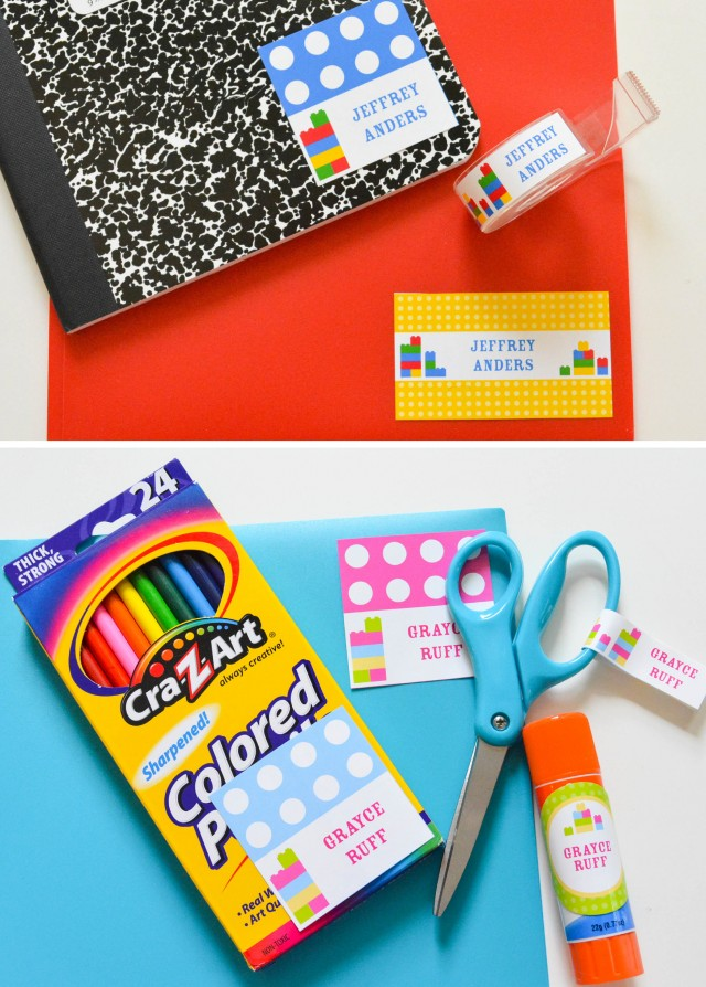 Back to school labels for supplies