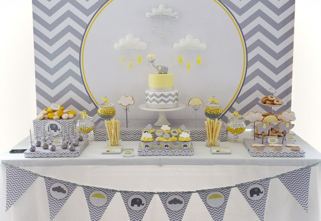 yellow and grey elephant baby shower anders ruff custom designs llc