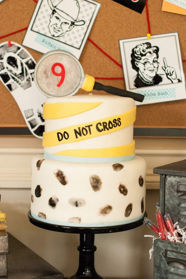 detective birthday party cake