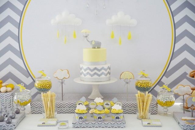 yellow and grey elephant baby shower using anders ruff printables