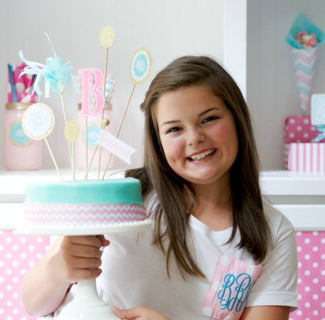 DIY cake toppers for monogram themed birthday party