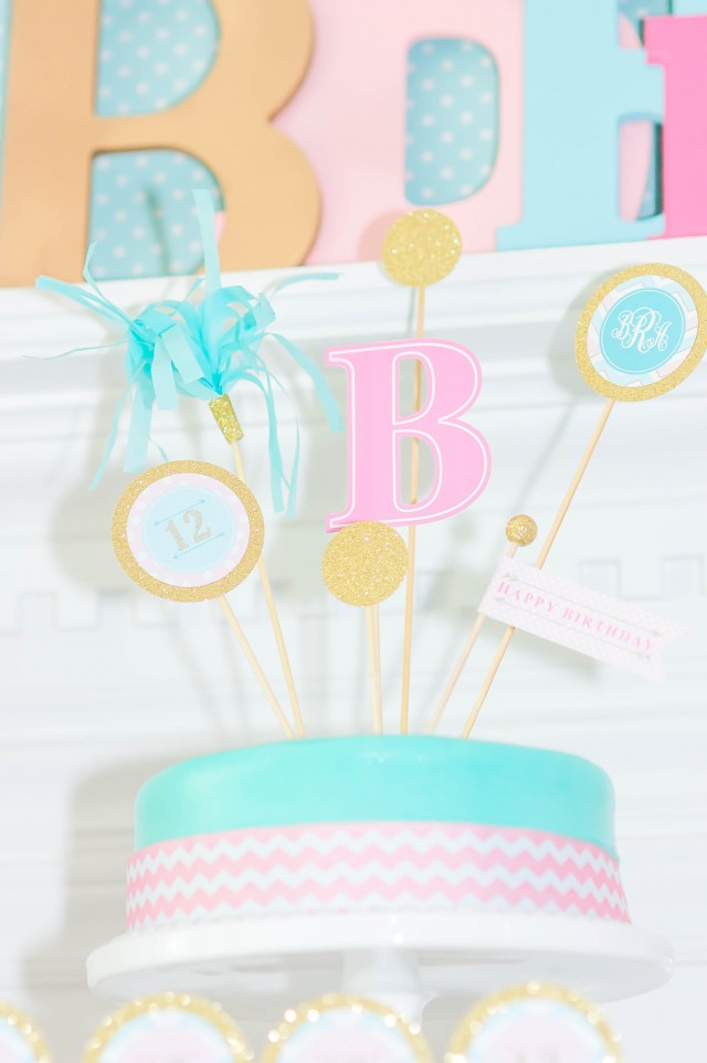 Monogram birthday party cake toppers