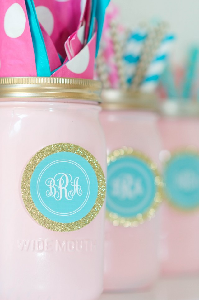 Painted mason jars for monogram birthday party