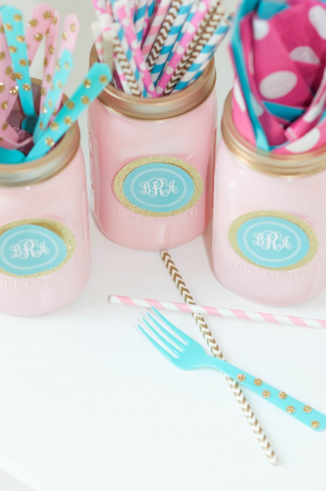 Painted mason jars for party utensils