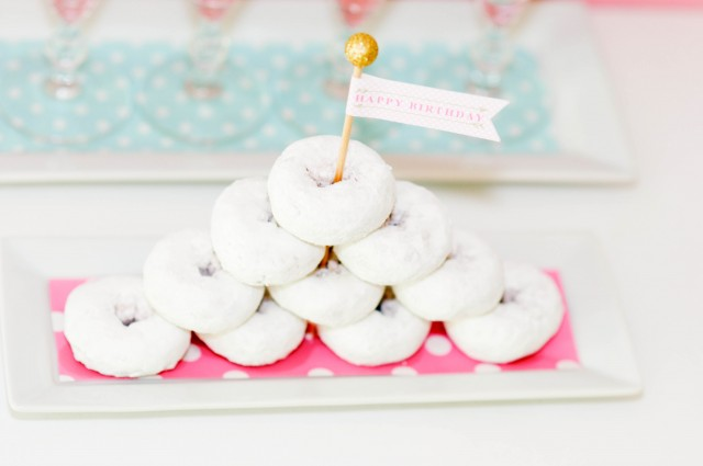 Monogram birthday donuts with printable party flag