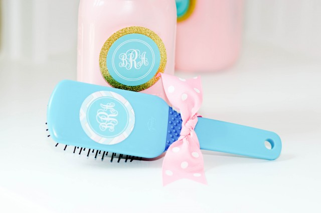 Monogram sticker on hair brush