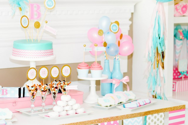 Monogram Birthday dessert table