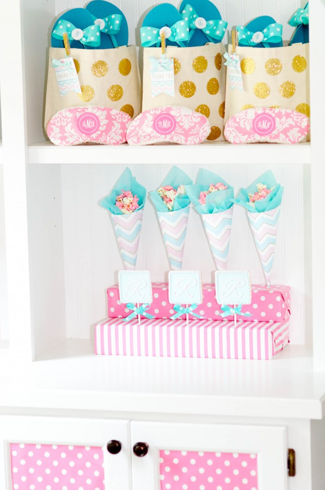 monogram birthday party favors