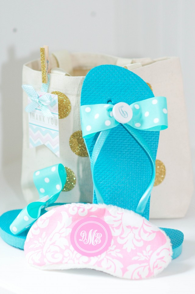 Monogram flip flops, eye mask & favor bag