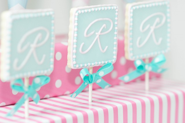 monogram cookies on sticks