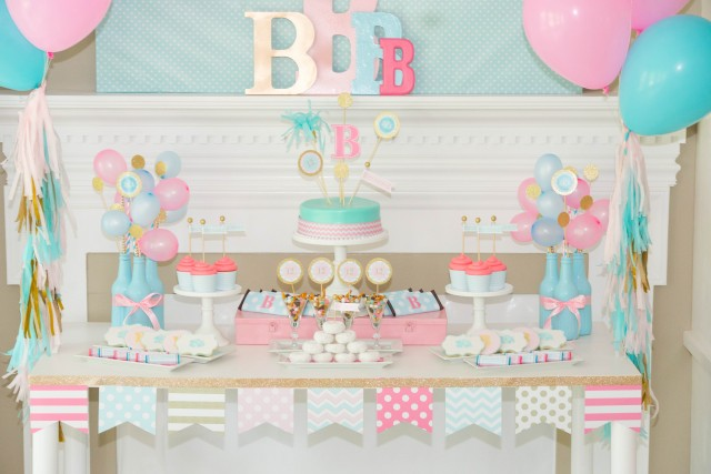 Monogram birthday party dessert table for teens