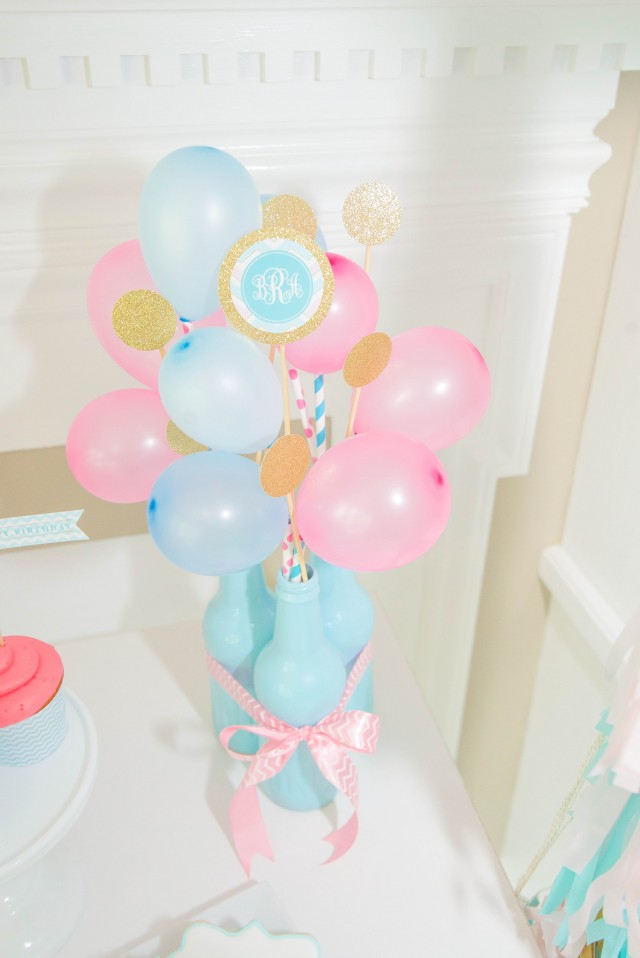 Monogram birthday balloon bouquet