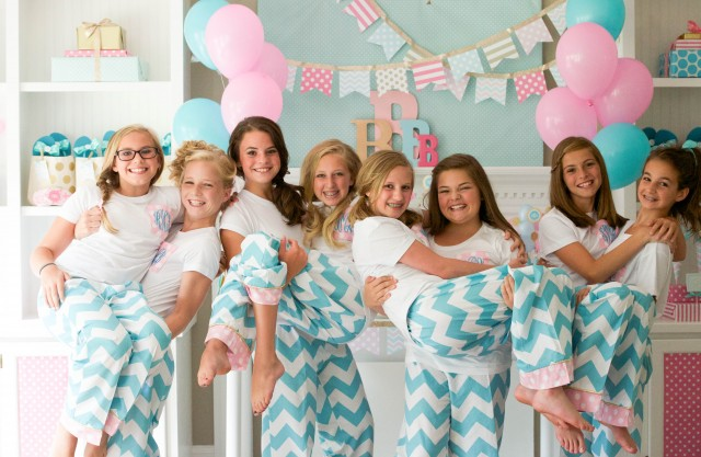 Monogram teen slumber party