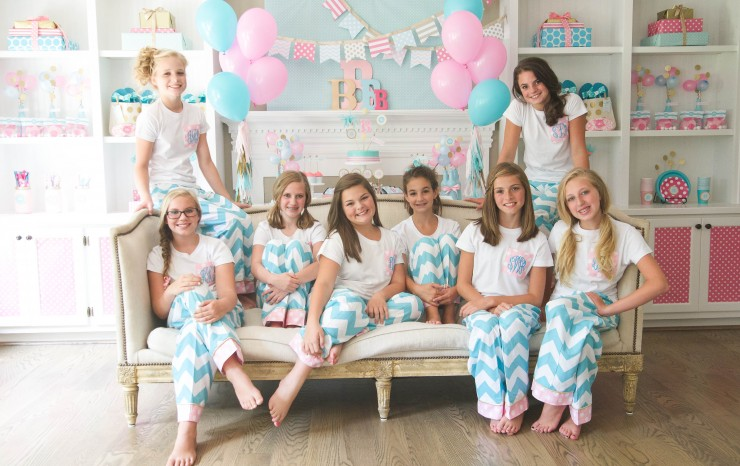 Tween/teen monogram slumber birthday party