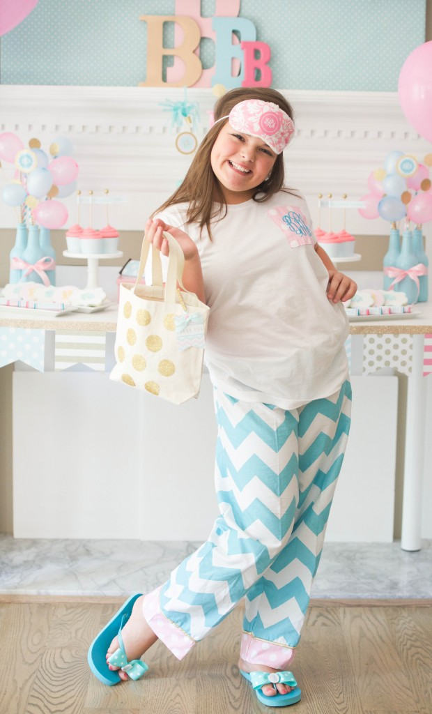 Monogram slumber birthday party for tweens/teens