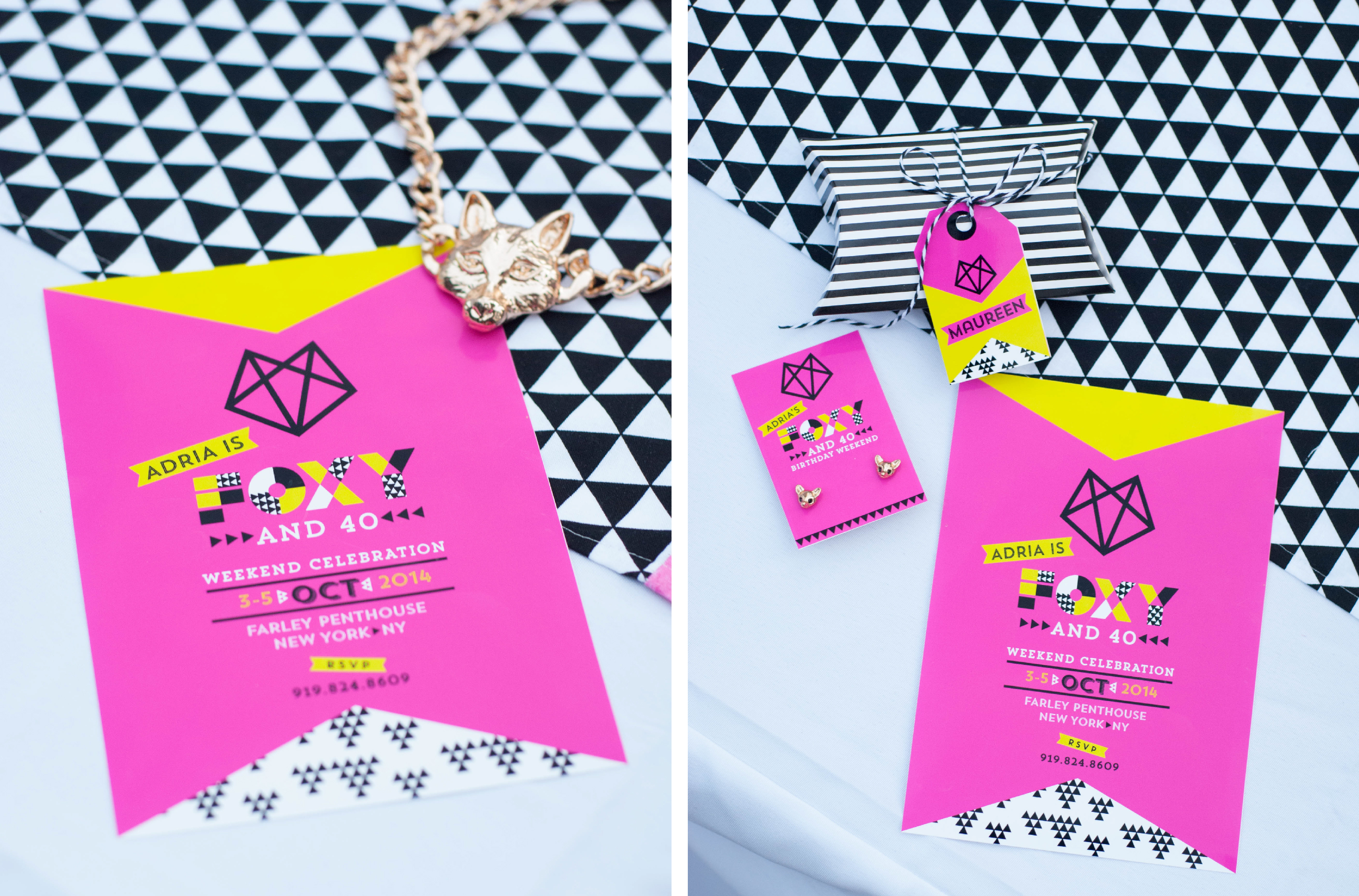 Printable foxy and 40 birthday invitation
