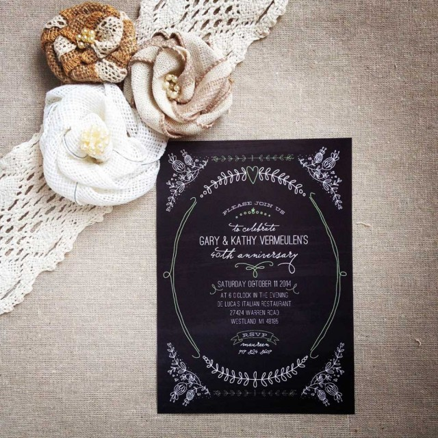 chalkboard anniversary party invitation
