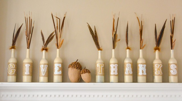 Recycled wine bottles for Thanksgiving