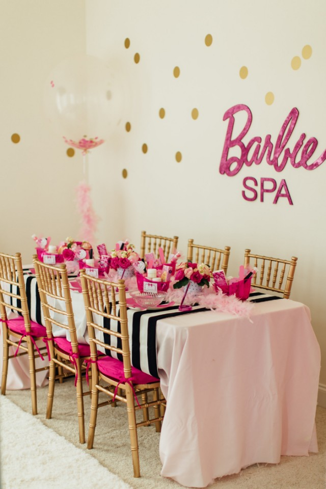 barbie spa party kids table