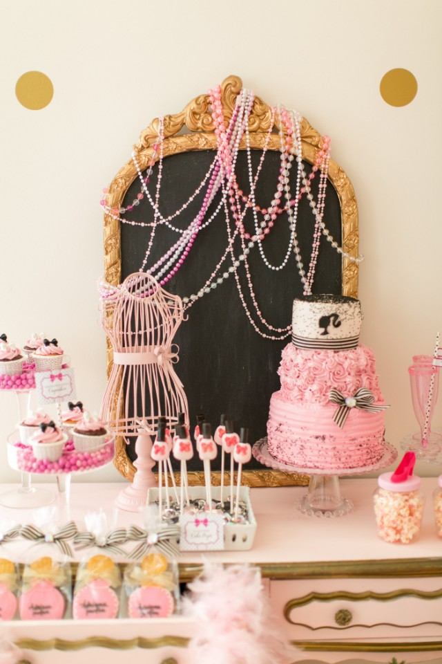 barbie party dessert table