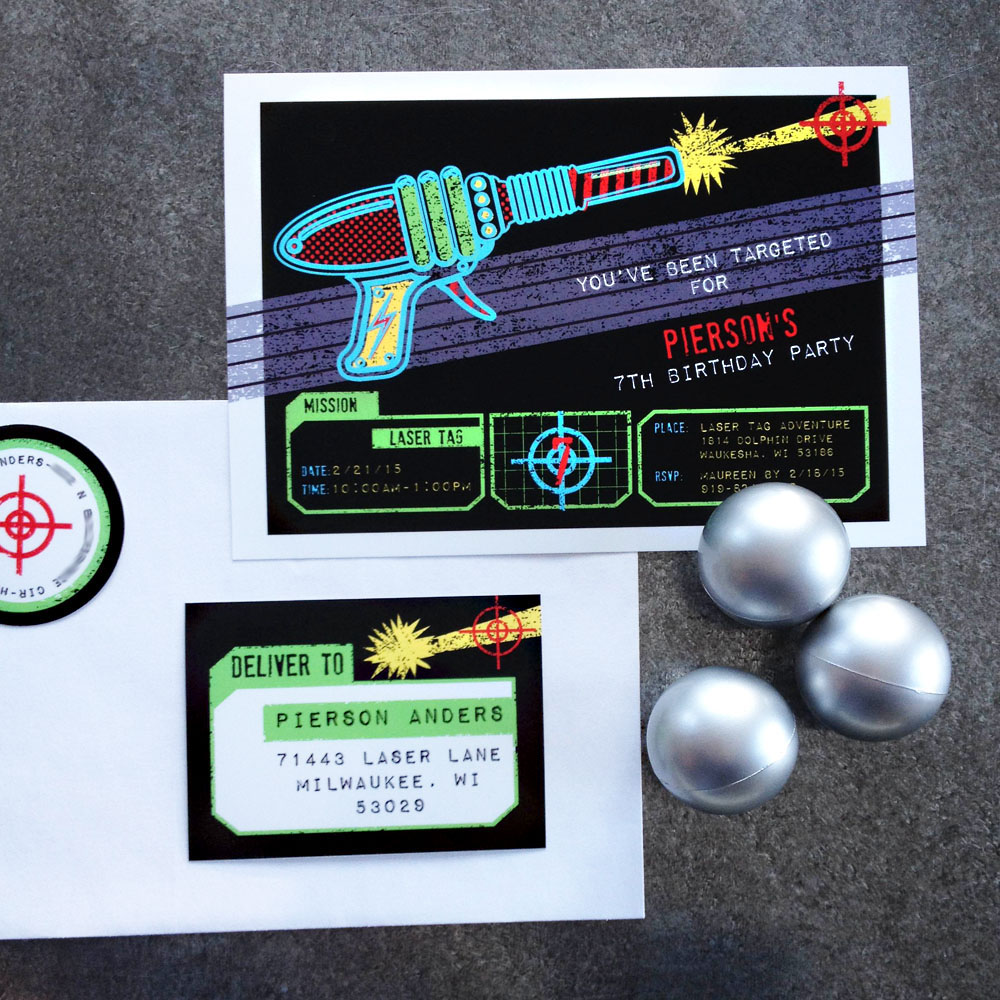 Laser Tag Party Invitation and Printables in the Shop Anders – Laser Tag Party Invitations