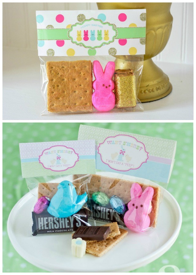 Anders Ruff Easter Decorations - super cute S'more Bag Toppers. So perfect for party favor, teacher gift, Sunday School Class