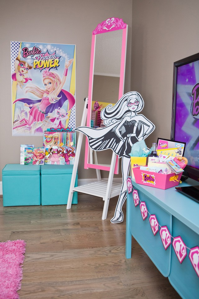 barbie movie viewing party setup